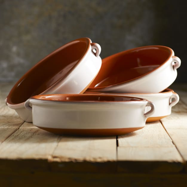 Image for Cloud White Terra Cotta Cazuelas - 8 Inches (4 Dishes)