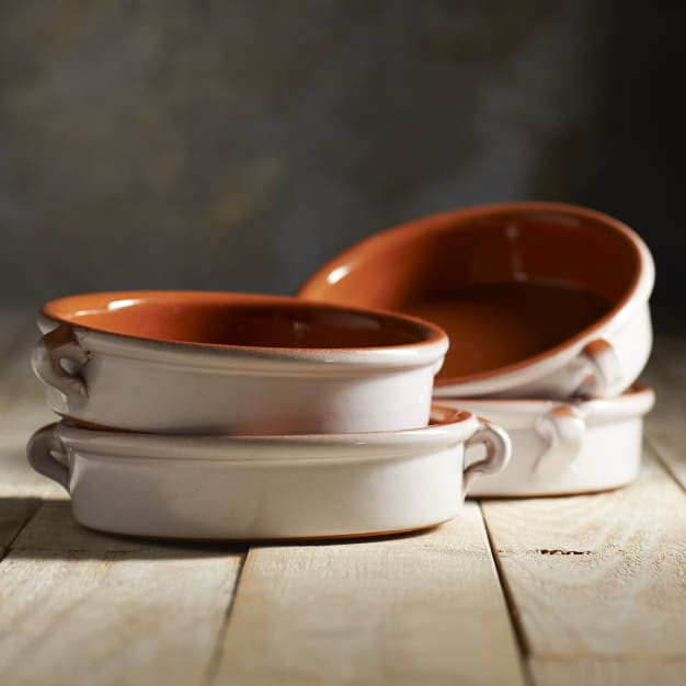 Image for Cloud White Terra Cotta Cazuelas – 6 Inches (4 Dishes)