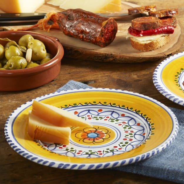 Image for Blue and Yellow Ceramic Tapas Plate