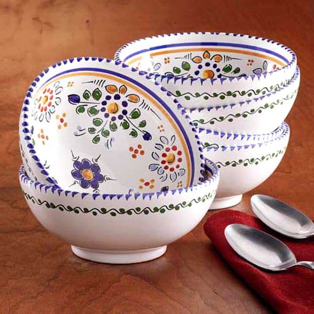 Image for Set of 4 Hand-painted Bowls - 6 Inch Diameter each