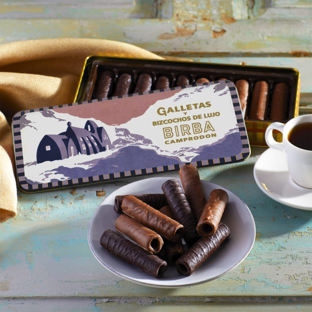 Image for Cubanos Chocolate Covered Cookies in Vintage Gift Tin by Birba