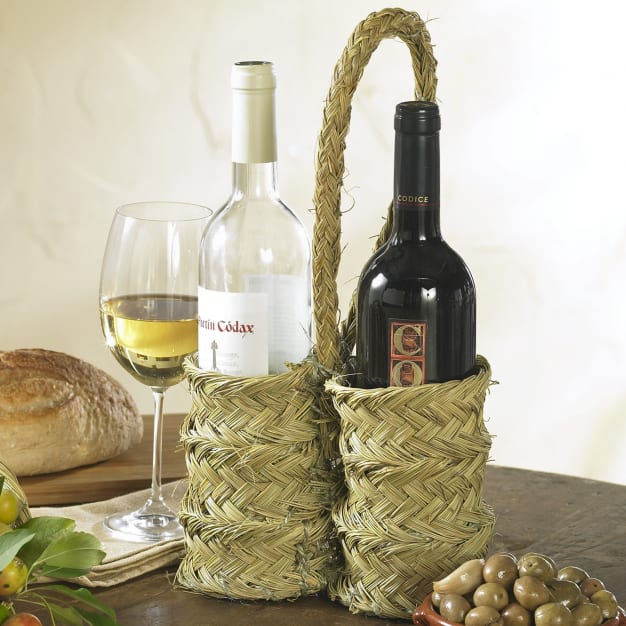 Image for Handwoven Esparto Grass Wine Holder