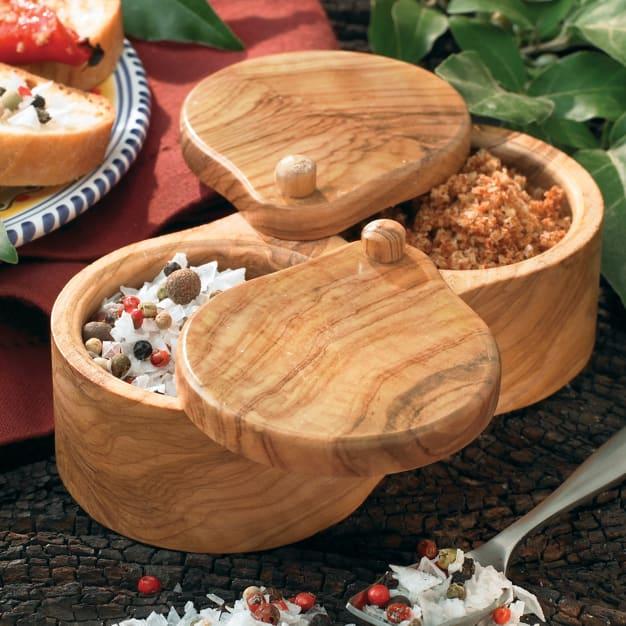 Double Olive Wood Salt and Spice Keeper | La Tienda