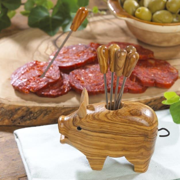 Image for Olive Wood Pig with Appetizer Forks
