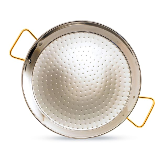 Image for 13 Inch Stainless Steel Paella Pan with Gold Handles - Serves 4