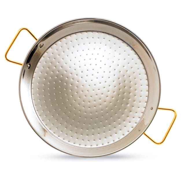 Image for 22 Inch Stainless Steel Paella Pan with Gold Handles - Serves 12