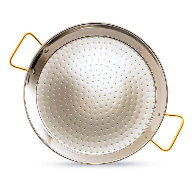 Image for 15 Inch Stainless Steel Paella Pan with Gold Handles - Serves 6