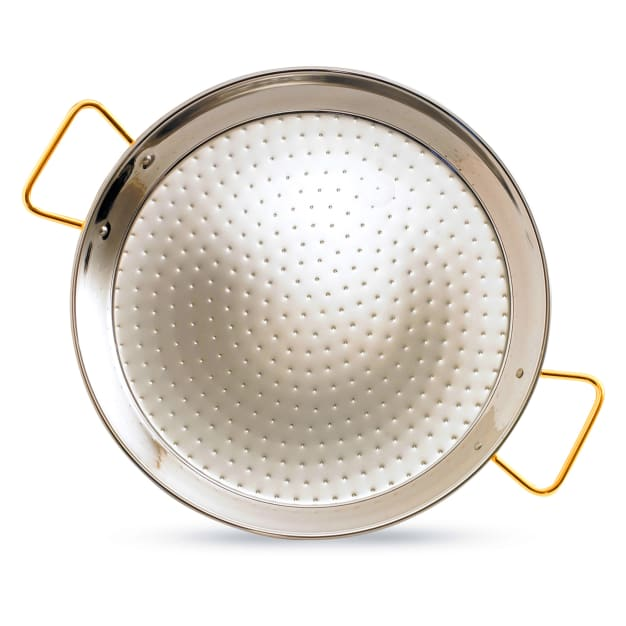 Image for 17 Inch Stainless Steel Paella Pan with Gold Handles - Serves 8