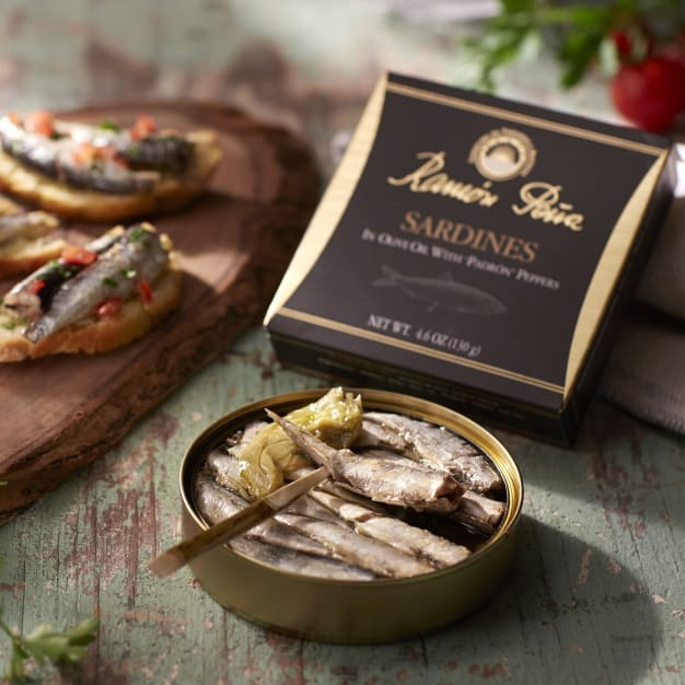 Image for Sardinillas in Olive Oil with Padrón Peppers by Ramón Peña