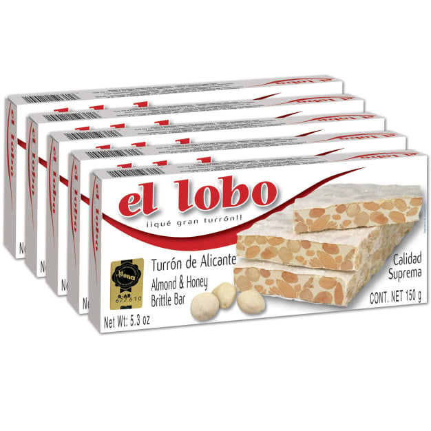 Image for 5 Boxes of Alicante Turron 'Duro' by El Lobo