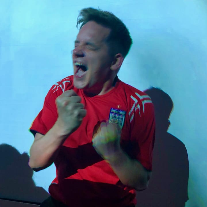 Me celebrating England's win over Colombia 1