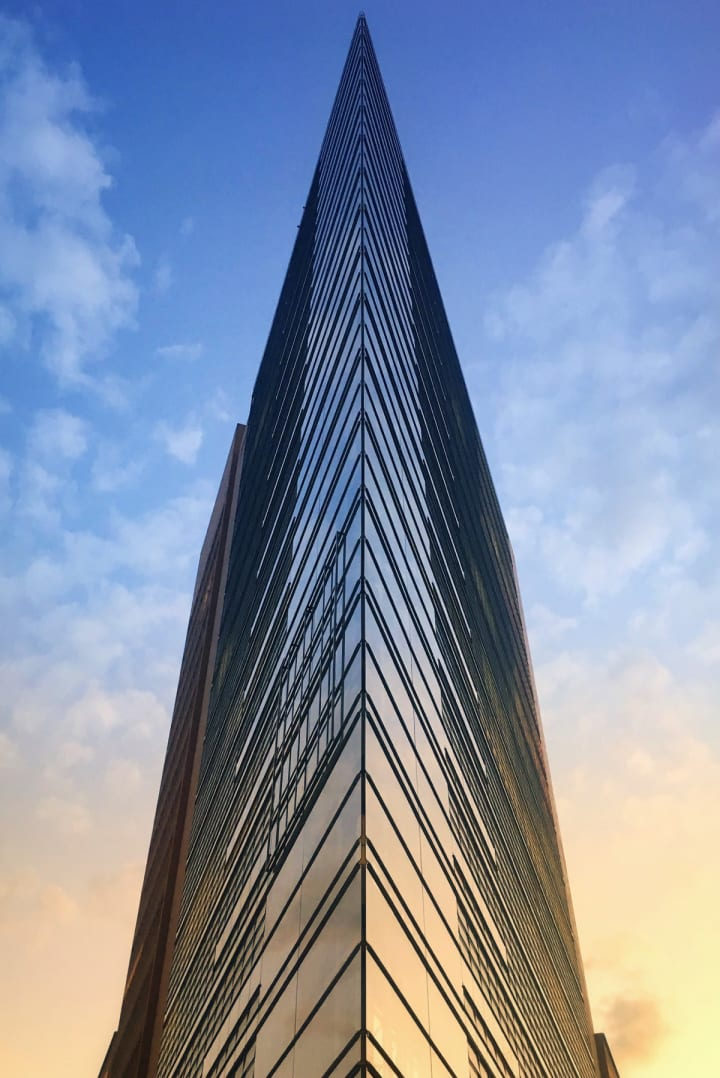 Highly contrasting lines on a glass covered building