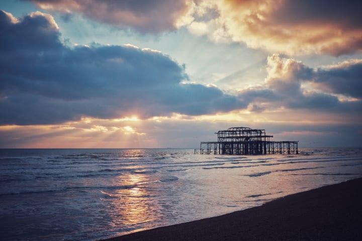 Sunset over Brighton's West Pier