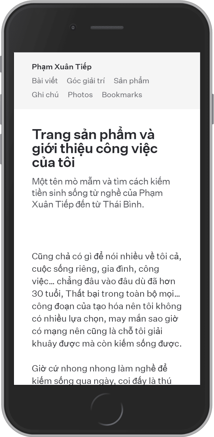 User profile page on mobile