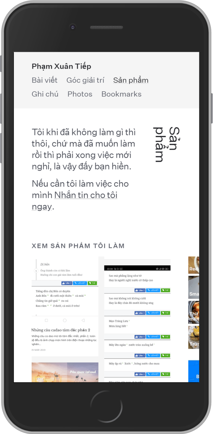 Article page on mobile