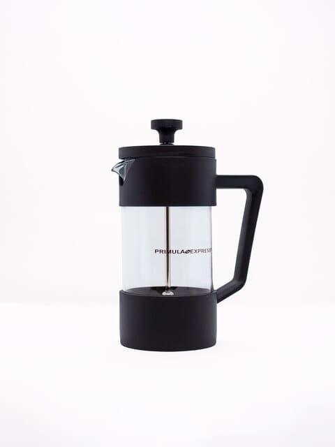 PRENSA FRANCESA 2 TZAS 350 ml 1 | La Prensa francesa primula es una cafetera fabricada en vidrio con tapa y asa en polipropileno. Incluye colador en acero inoxidable. Cafetera formada por un cilindro grande de vidrio refractario con un filtro plano sujeto a una manija en la tapa. Esto permite poner el café molido al fondo.