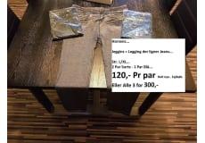 Leggings, Jeggins, -, str. Large, Sort + Blå, Ubrugt, Jeggins = Leggins der ligner Jeans... Vir.