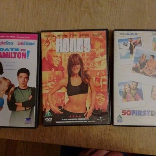 Tøsefilm , DVD, romantik, 50 first dates (2006) Honey (2003) Love Happens (2009), aldrig brugt .