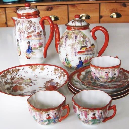 Porcelæn, Kaffete stel, Kinesisk, Porcelæn, Tekaffestel, Kinesisk Kinesisk thestel: 2 kander.