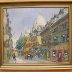 Oliemaleri, Montmartre Paris, motiv: PortrætterFigurer, stil: Realisme, b: 55 h: 46