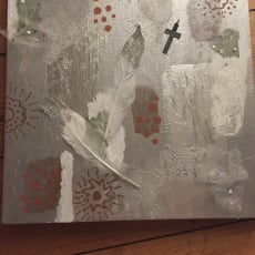 Blandede medier, Aya Lorentzen, motiv: Abstrakt, stil: Abstrakt, b: 30 h: 30, Maleri gray Style 6.