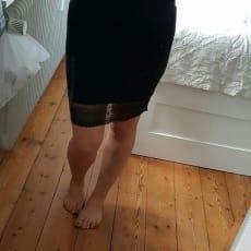Nederdel med blondekant, str. 26, Vbasics, Sort, Elesthan, Ubrugt