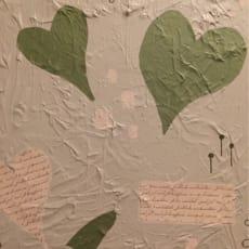 Blandede medier, Aya Lorentzen, motiv: Abstrakt, stil: Abstrakt, b: 40 h: 40, Green love Med ramm.