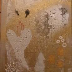 Blandede medier, Aya Lorentzen, motiv: Abstrakt, stil: Abstrakt, b: 18 h: 24, Malerier Keys lille.