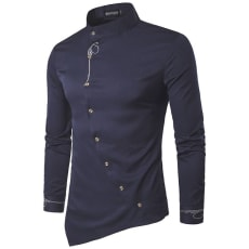 Skjorte, KUSOOFA, str. XXL, Mørkeblå, Bomuld & Polyester, Ubrugt, En Pæn & smart snit på skj.