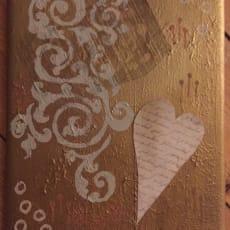 Blandede medier, Aya Lorentzen, motiv: Abstrakt, stil: Abstrakt, b: 24 h: 30, Gold Heart 1 og 2 p.