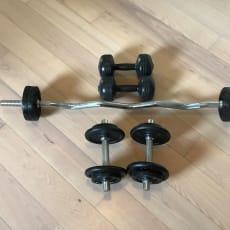 Sælger fuldt sæt håndvægte m. stang og vægteskiv