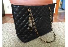 ny chanel shopper taske, sort, 40x27 cm, guld hardware
