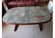 Sofabord. Super ellipse formet. Mahogni.