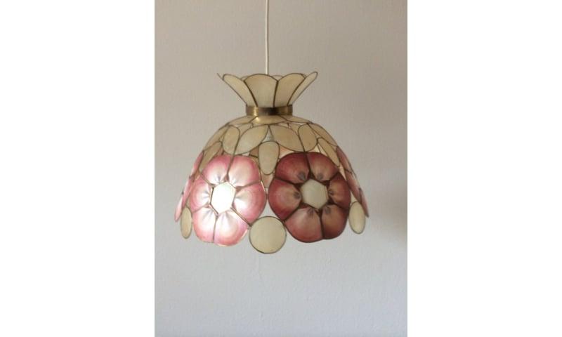 Pendel lampe af perlemor, diameter ca. 40cm