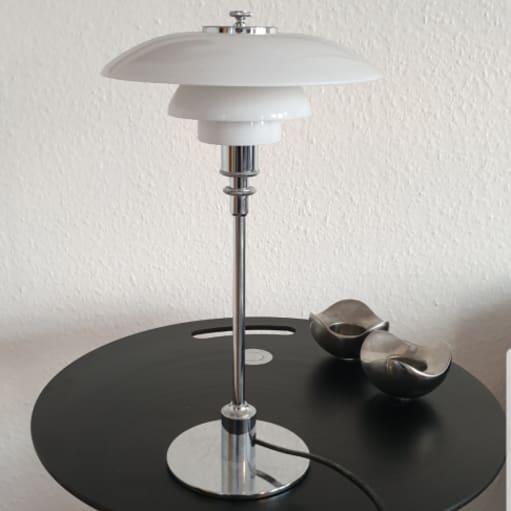 PH 3/2 Bordlampe, glas/højglansforkromet