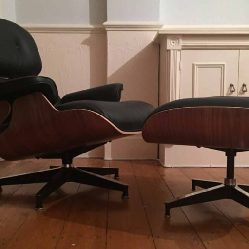 Original Herman Miller valnød Eames Lounge Chair & Ottoman