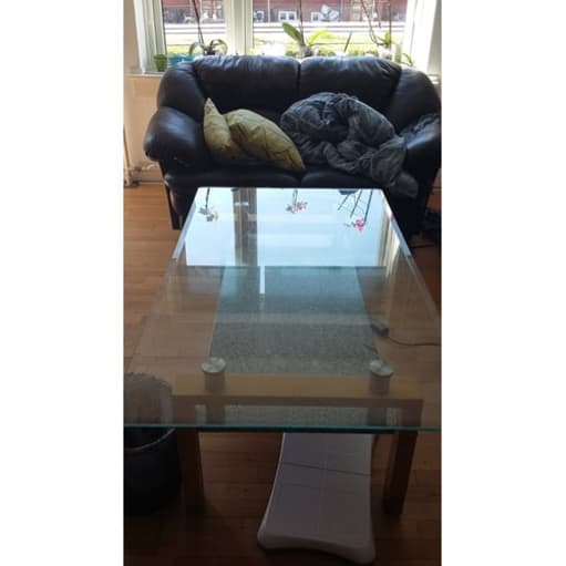 sofabord i glas og marmor