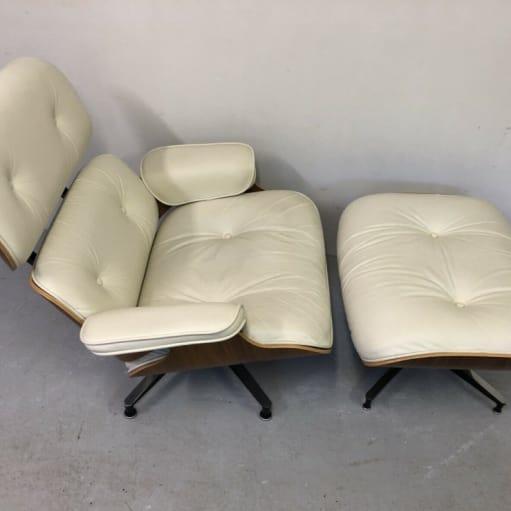 Herman Miller Eames Lounge Stol Ottoman - hvid valnød