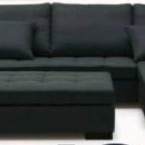 God og billig sofa med chaiselong og puf
