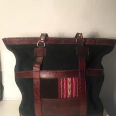 Grøn ruskin og læder taske