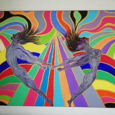 Maleri på 100 x 150 cm.