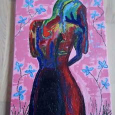 Flot akryl maleri pige