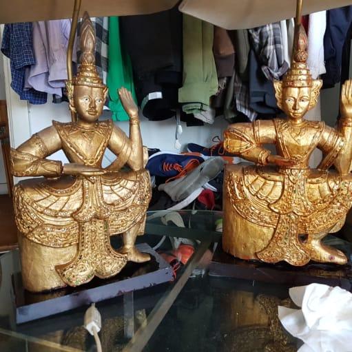 2 bordlamper fra Bali i træ