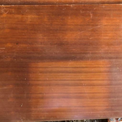 Tyk skrivebordsplade med teaktræ 140 x 80 cm.