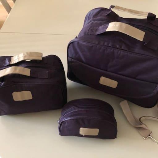Taskesæt kanvas mørklilla