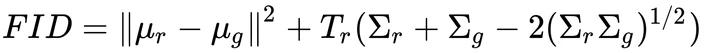 формула Fréchet Inception Distance (FID)