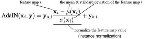 Формула Adaptive Instance Normalization (AdaIN) из StyleGAN