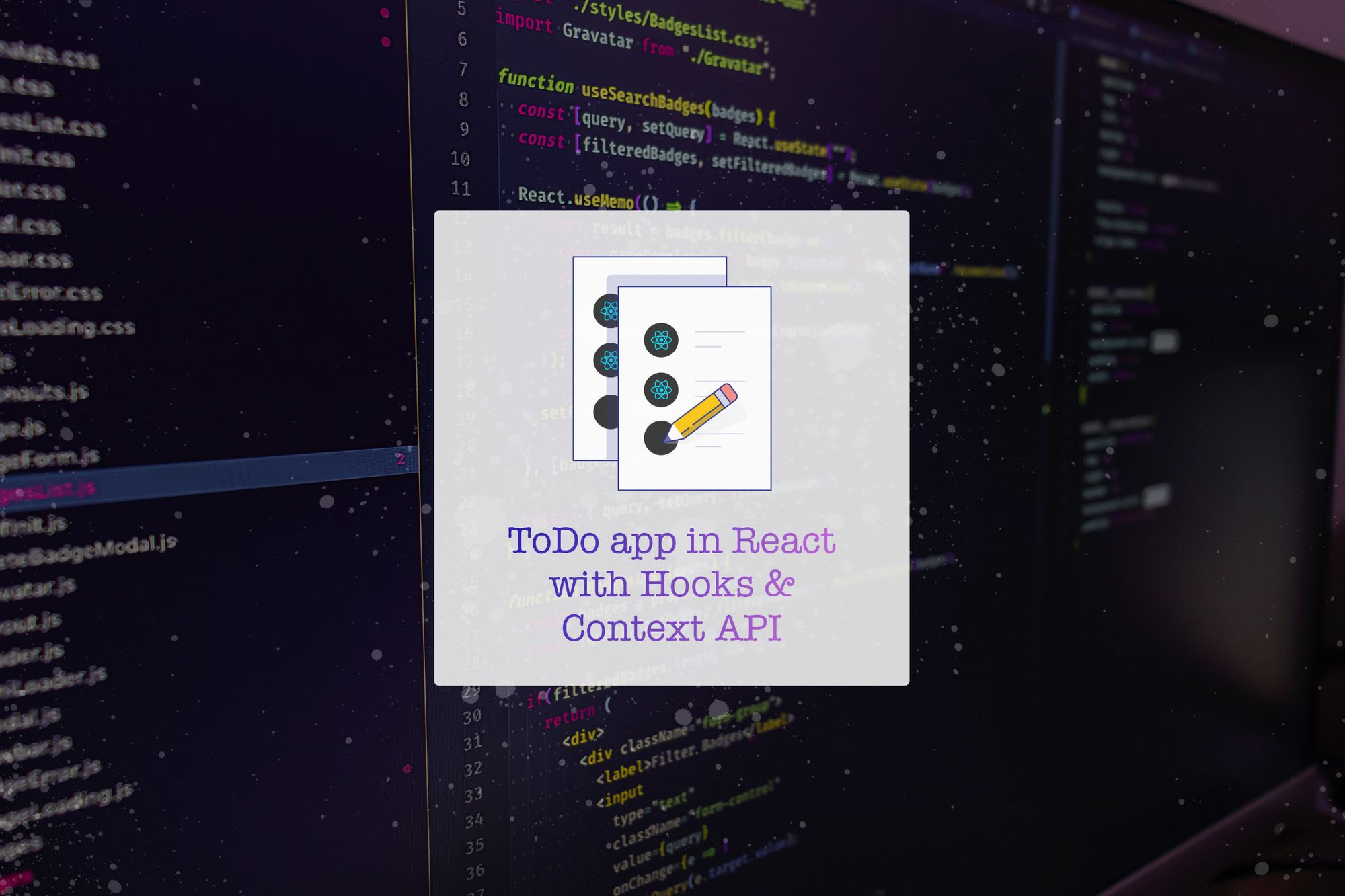 ToDo app in ReactJS with Hooks & Context API