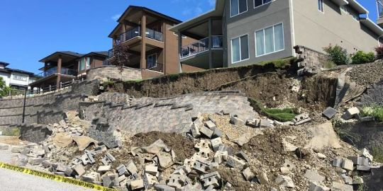 Retaining wall near house collapses