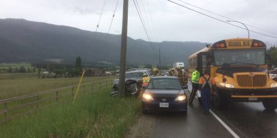 School bus involved in highway accident near Enderby